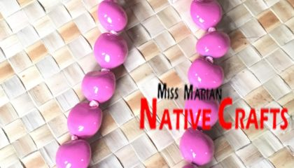 Light Pink Kukui Nuts Leis Necklaces