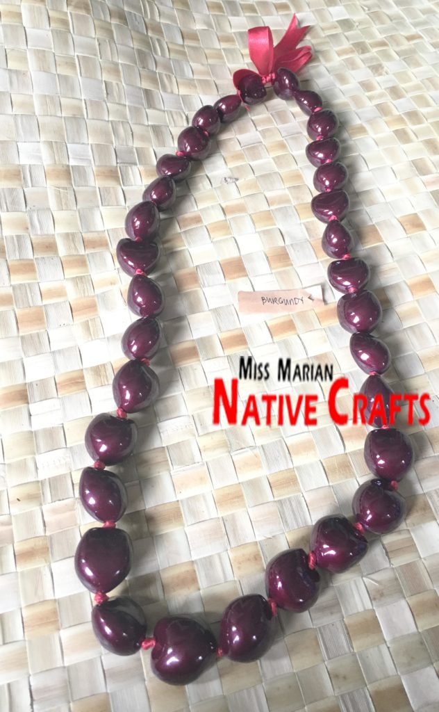 Burgundy Kukui Nuts Necklaces